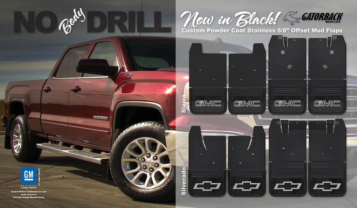 Gatorback Bowtie/GMC No Drill Black Mud Flaps