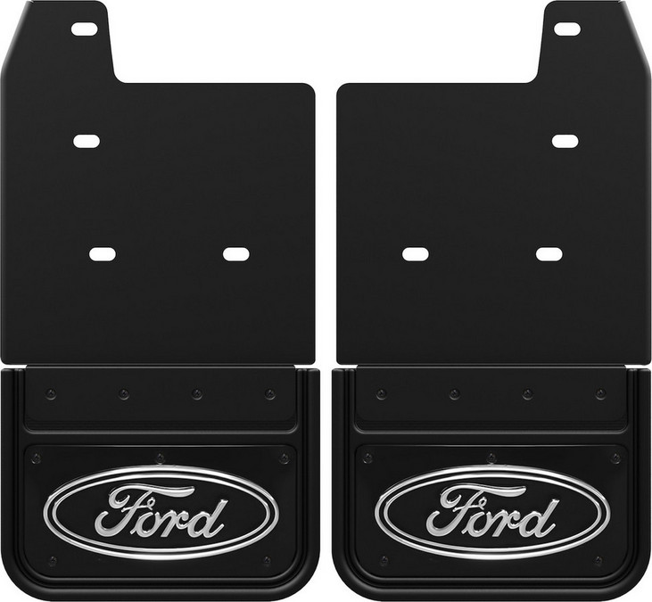 Gatorback CS Ford Oval Mud Flaps - Black/Wrap