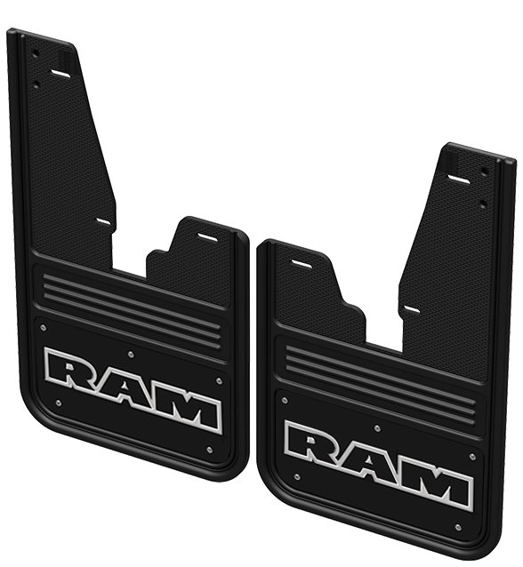 Gatorback CR RAM Text Mud Flaps - Black/Wrap