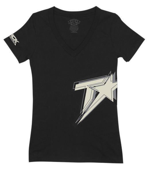 Logo V-Neck Women's T-Shirt - Black/Cream